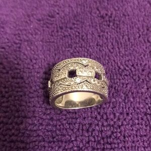 Jewelry - Crystal pavé Sterling Siver cigar band ring-sz6